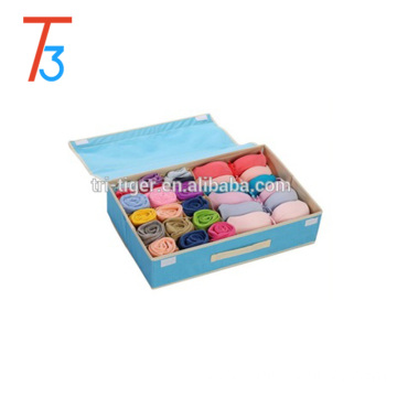 Fabric Foldable Underwear Sock Storage Box Closet Organizer with Cover